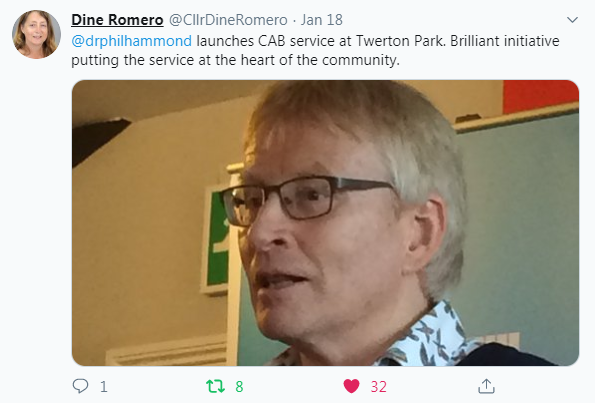 Cllr Dine Romero's comments on the service on Twitter