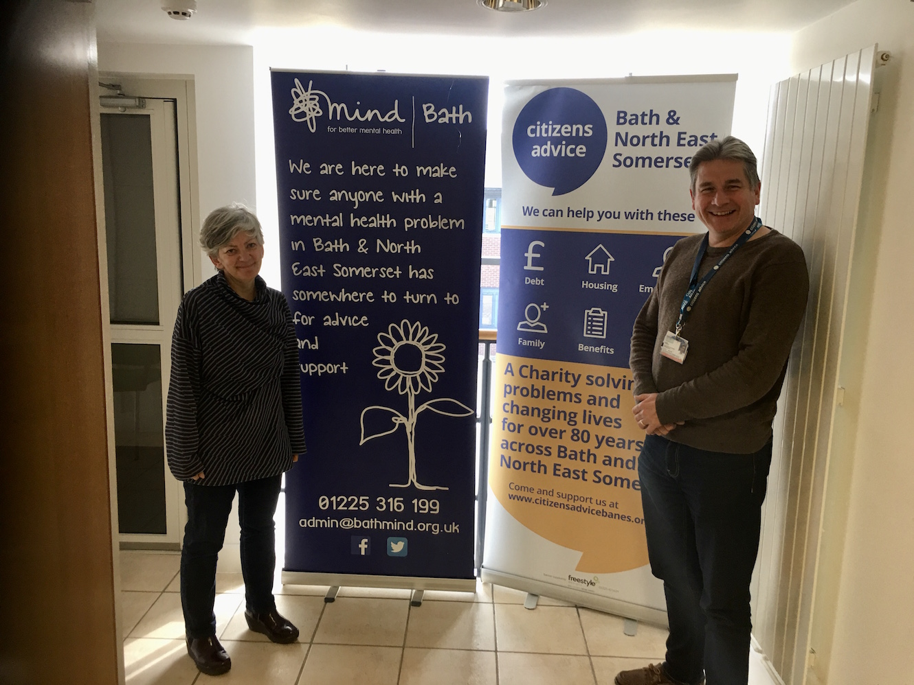 Kate Morton (Bath Mind) and Les Redwood (Citizens Advice - B&NES) are encouraged by this funding
