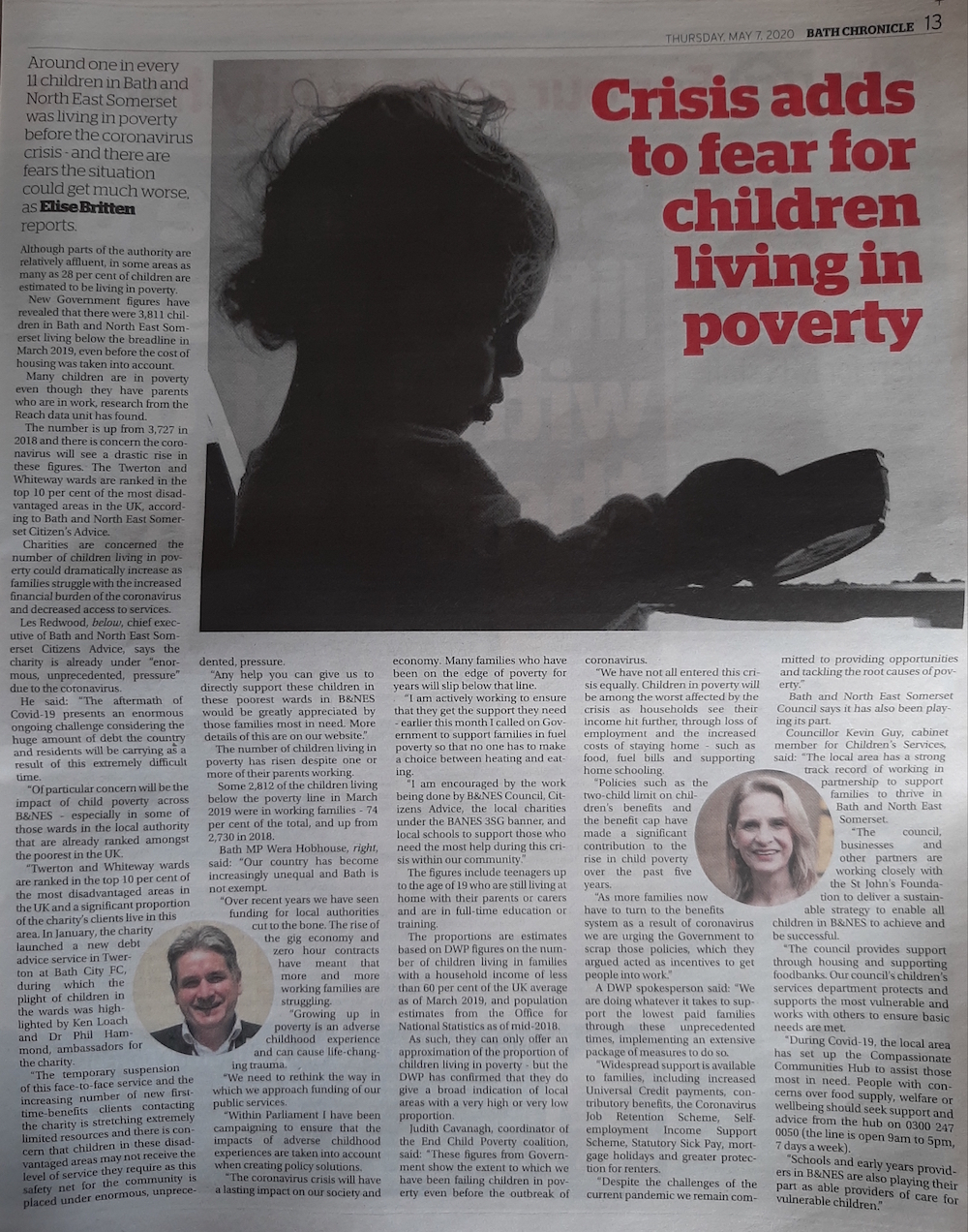 Read the child poverty article from page 13 of the Bath Chronicle