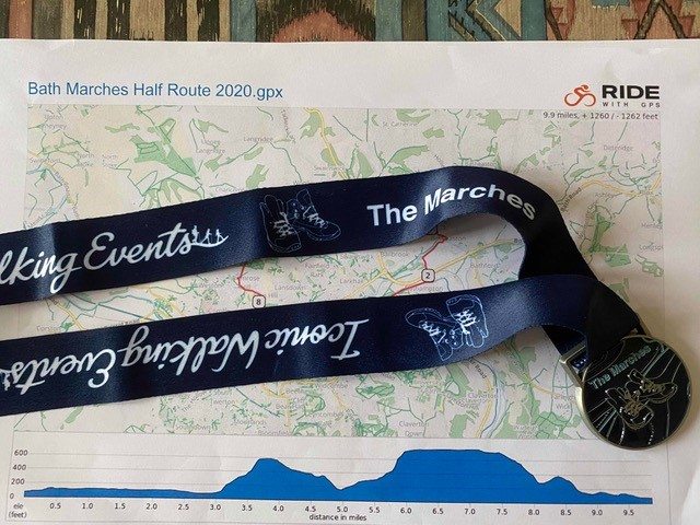 Sarah and Paul Bath Marches medal and route