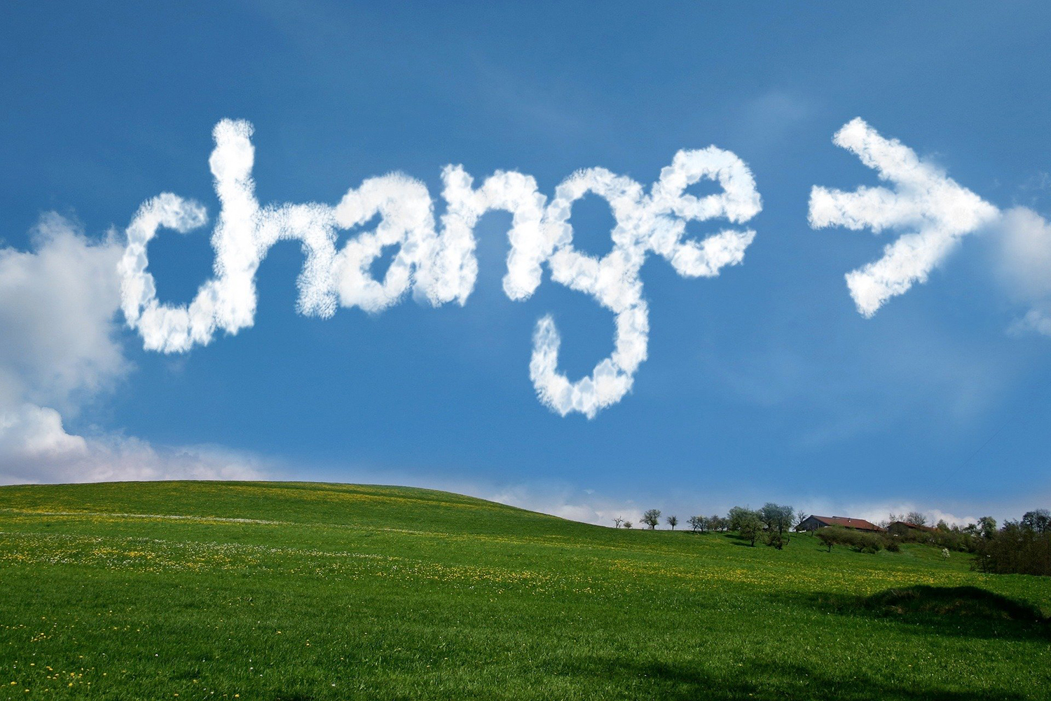 Image of clouds spelling out Change