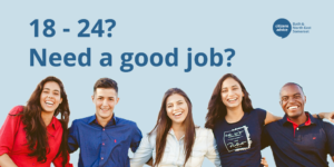 Diverse group of entry level workers smiling